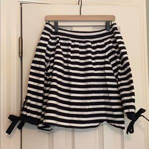 J Crew navy/white striped off the shoulder top